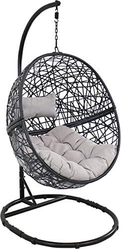 new arrival Sunnydaze Jackson Hanging Egg Chair sale Swing with new arrival Steel Stand Set - All-Weather Construction - Resin Wicker Porch Swing - Large Basket Design - Outdoor Lounging Chair - Includes Gray Cushions online sale