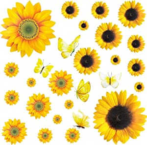 27 Pcs Sunflower Wall Stickers 3D Butterfly Flower Removable Wall Decals Waterproof Sunflower Decor Mural DIY Wall Art Decoration for Baby Kids Nursery Bedroom Kitchen (Assorted Size)