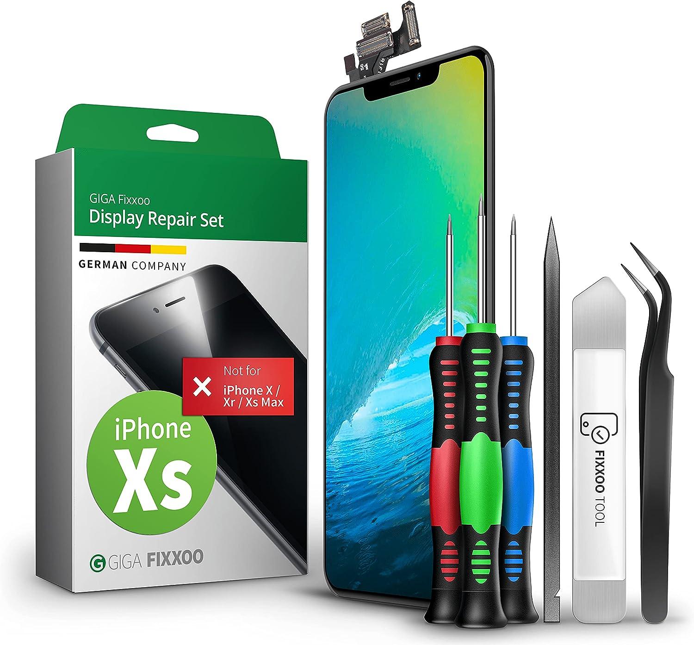 GIGA Fixxoo Pantalla para iPhone XS | Kit de reparación Completo con Kit de Herramientas de Repuesto, Pantalla Retina LCD con Pantalla táctil (como la Pantalla Original)