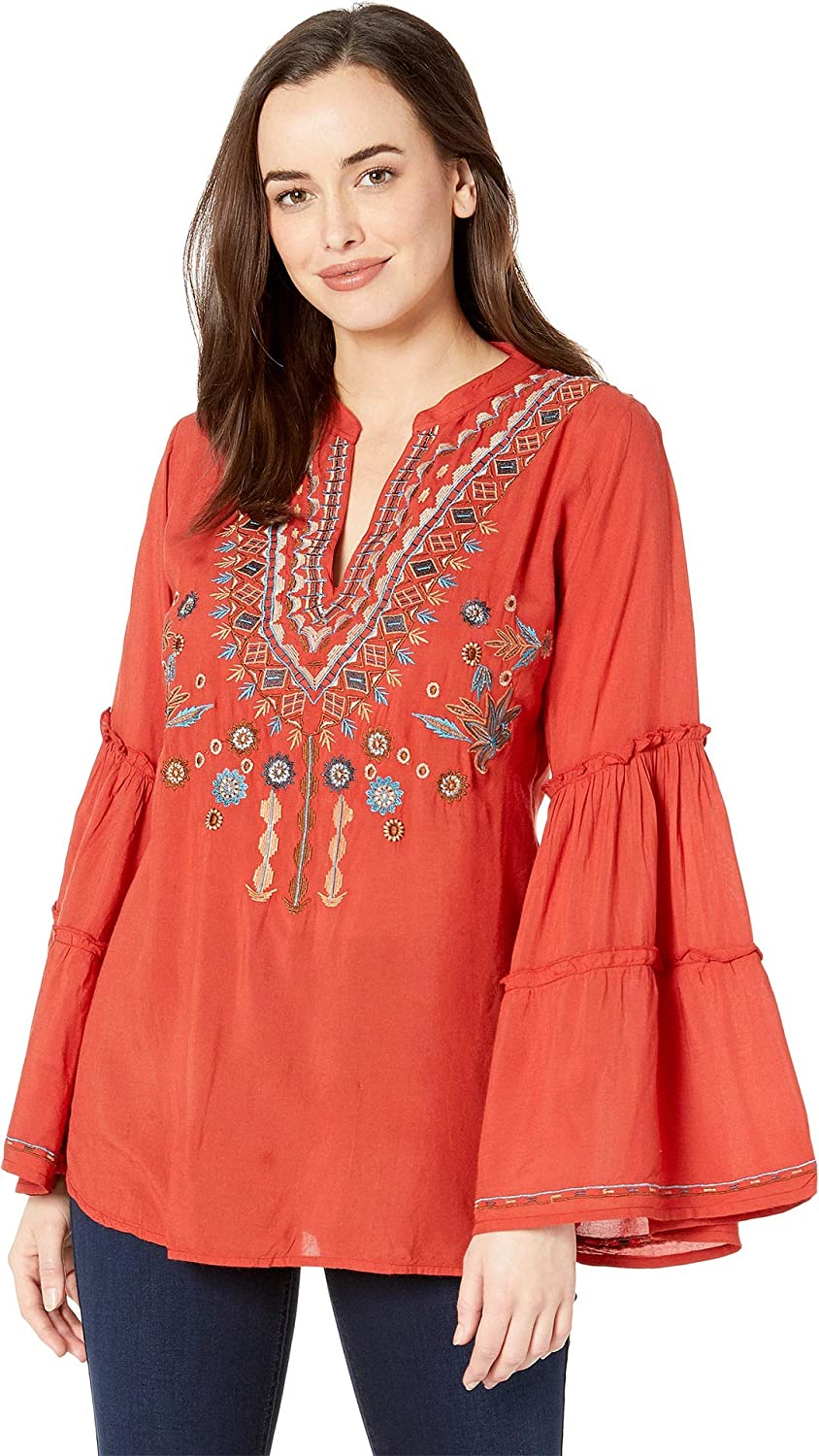 SCULLY Womens Piper Embroidered Double Tiered Sleeve Tunic