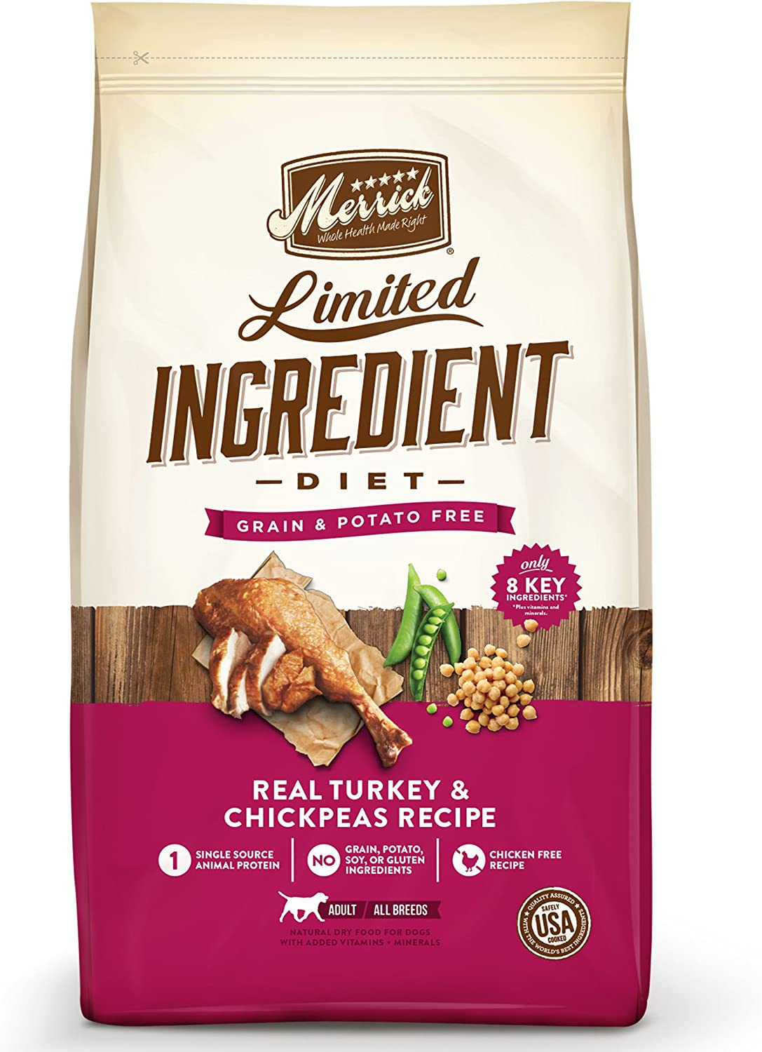 Merrick Dry Dog Food with Vitamins & Minerals for All Breeds , 12 lb, Turkey