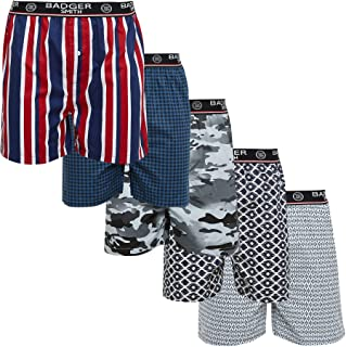 Badger Smith Men's, 5 - Pack and 3 - Pack Cotton Print Multicolor Boxer Shorts