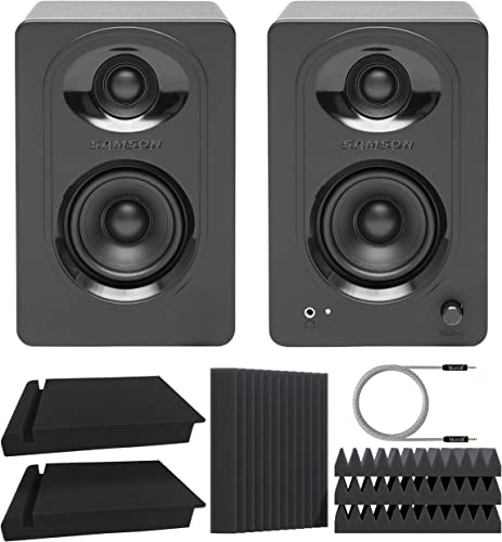 """new arrival Samson MediaOne M30 3"""" Powered Studio Monitors for Mixers, Audio Interfaces, Computers (Pair) Bundle with Blucoil 2X 2021 Acoustic Isolation Pads, popular 5-FT Audio Aux Cable, and 4X 12 Acoustic Wedges sale"""