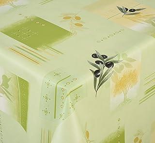 Venilia Olivier Nappe Vert Olive Linge de Table Toile cirée Maintenance réduite hydrophobes, Polyester, PVC, carré, x 140...