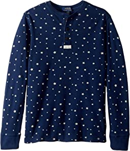Star Print Cotton Mesh Henley (Big Kids)
