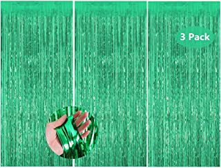 3Pcs Green Metallic Tinsel Foil Fringe Curtains, 3ft x 8ft Abcty Party Decor Backdrop for Birthday Wedding Engagement Brid...