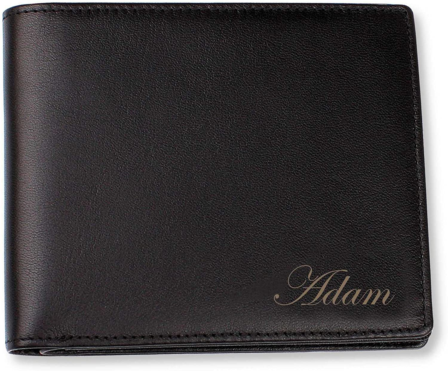 Personalized Black Leather Bi-fold Wallet Engraved Free - Ships from USA