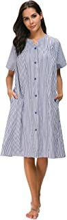 M-anxiu Sleepwear Womens Stripe NightgownButton Down Duster Short Sleeve House Dress S-XXL
