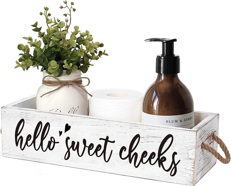 MayAvenue Farmhouse Bathroom Decor Box Elegant Double High material Cheeks Sweet Hello