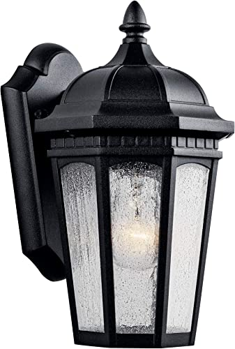 """popular Courtyard 11"""" 1 Light outlet sale high quality Outdoor Wall Light with Clear Seeded Glass in Textured Black online sale"""