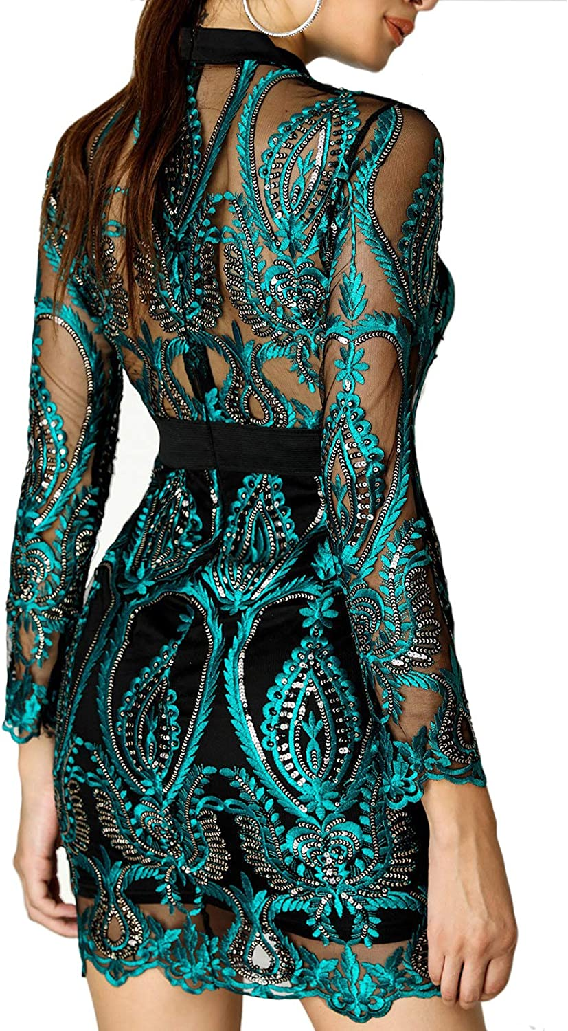 VENSHEMET Women Sexy Sequin Bodycon Mesh Long Sleeves Hollow Out Prom Cocktail Party Dress Outfit