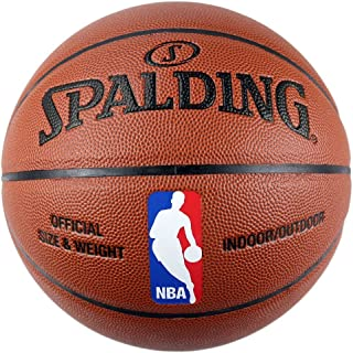 SPALDING斯伯丁 室内室外篮球 NBA彩色运球人蓝球 PU材质74-602Y