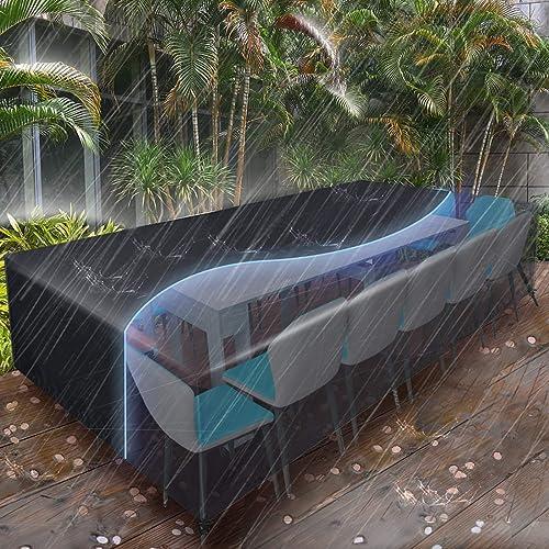 Essort Housses de Meubles 315x160x74cm, Housse Salon de Jardin pour 10-12 Sièges Imperméable, Housse de Protection Me...