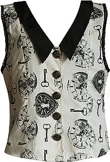 Victorian Steampunk Gothic Alice in Wonderland Clock Print Shirt Ivory Black