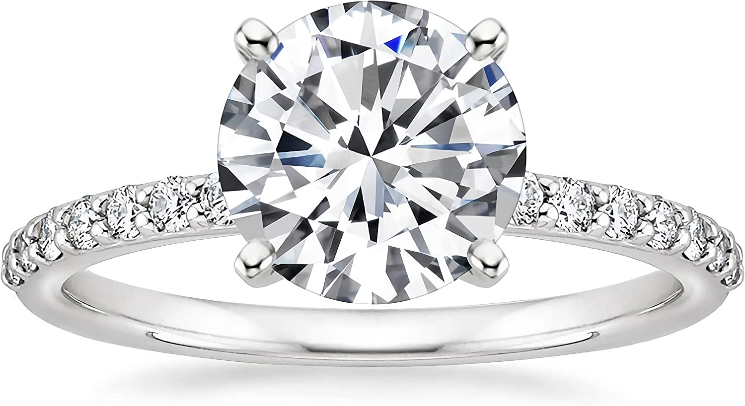 Engagement Online limited product Ring 2-1 4 CT Pave Cut Moissanite Brand new Ri Round
