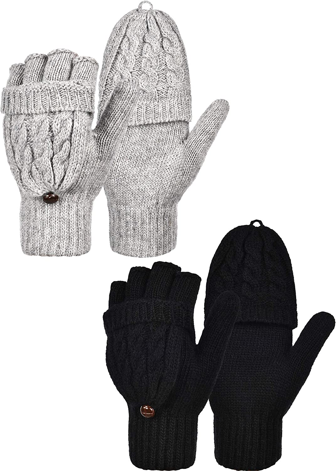 2 Pairs Women's Winter Fingerless Gloves Winter Knitted Mittens Convertible Gloves with Buttoned Thumb Cover (Style Set 1)