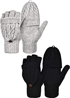 Bememo 2 Pairs Women's Winter Fingerless Gloves Winter Knitted Mittens Convertible Gloves with Buttoned Thumb Cover, 2 Colors