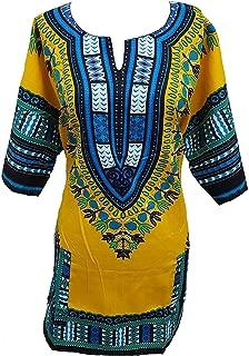 Traditional Unisex 100% Cotton Dashiki Top,One Size,Yellow