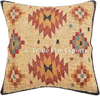 Hecho a mano Kilim Almohada, cojín, 18x 18, manta decorativa fundas de almohada de yute, al aire libre cojín, Boho de almohada.
