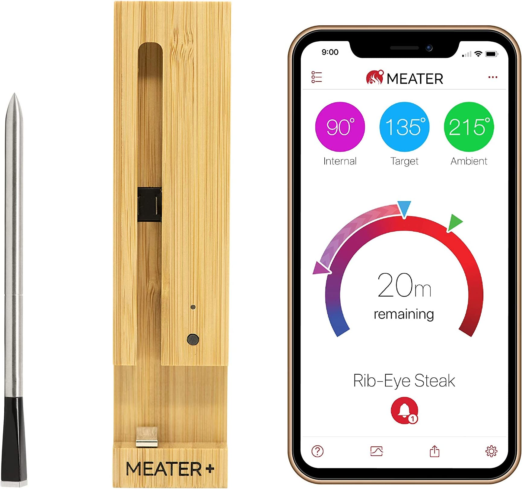 MEATER Plus | 165ft Long Range Smart Wireless Meat Thermometer with Bluetooth for The Oven, Grill, Kitchen, BBQ, Smoker, Sous Vide, Rotisserie