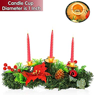 16 Inch Christmas Advent Wreath Christmas Decoration Oval 3 Candles Holder with Glitter Sequin Poinsettia Red Berries Ball Iv