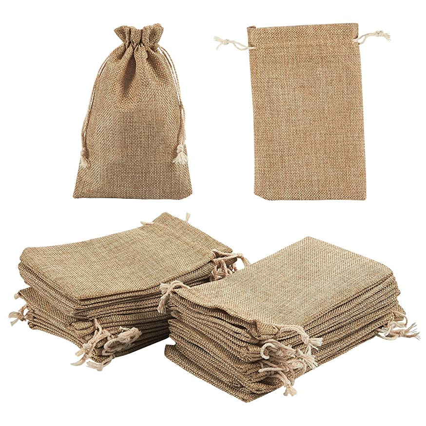 Jewelry Pouch Drawstring Bags - 24 Piece Burlap Gift Bags for Jewelry, Candy, Wedding, Arts and DIY Crafts, Baby Showers, Festival Occasions - Party Favors, Natural Color, 7 x 4.5 Inches