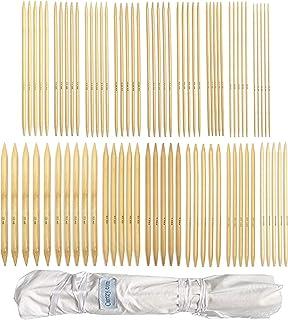Juego de agujas de bambú de doble terminación, para principiantes y profesionales, 80 piezas (16 tamaños X 5 unidades), 2m...