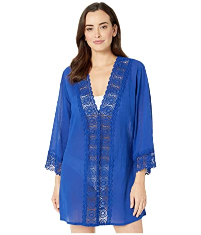 La Blanca Island Fare V-Neck Tunic Cover-Up (Blueberry) Women