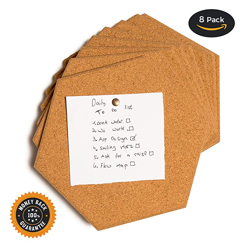 Premium thick Cork tiles - Cork board, Pin board, 8 Pack including M3 double sided adhesive and push pins.