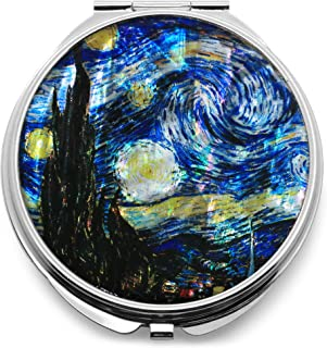 Compact Makeup Mirror Cosmetic Korean Mother of Pearl Lacquered Vincent Van Gogh The Starry Night Blue #2
