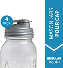 reCAP Mason Jars Lid POUR Cap, Regular Mouth, Silver – 4 Pack - BPA-Free, American Made Ball Mason Jar Lids for Preparing, Serving and Storage, Spill Proof and Made with Safe, No-Break Materials