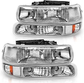 For 99-02 Chevrolet Silverado 1500 2500/01-02 Chevy Silverado 1500HD 2500HD 3500HD / 00-06 Chevy Tahoe Suburban 1500 2500 Headlight Assembly Chrome Housing Headlamp with Bumper Lights(Not for GMC)