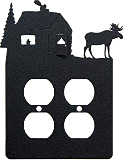 Moose & Cabin Double Duplex Power Outlet Wall Plate (Double Power, Black)