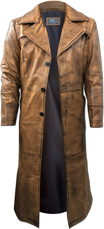 Leather Trench Coat Mens Full Length - Leather Duster Coat For Men