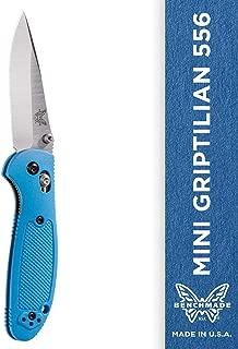 Benchmade - Mini Griptilian 556 EDC Manual Open Folding Knife Made in USA with CPM-S30V Steel, Drop-Point Blade, Plain Edge, Satin Finish, Blue Handle
