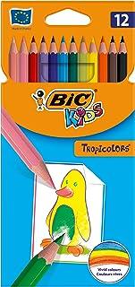 BIC Kids Tropicolors, Crayons de Couleur - Etui Carton de 12