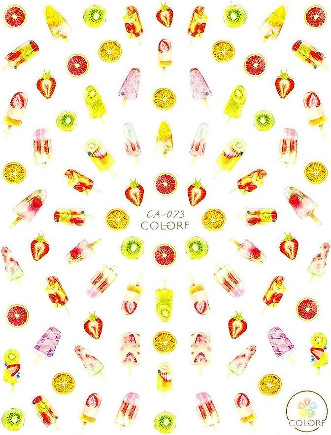 伝導率プラスチック卑しい極薄 ネイルシール フルーツ 果物 バナナ サクランボ デコやレジン、アルバム制作などに (05-C44)
