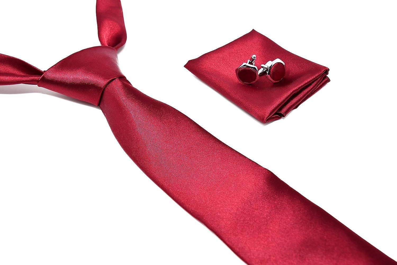Corbata de hombre, Pañuelo de Bolsillo y Gemelos Rojo Burdeos - 100% Seda - Clásico, Elegante y Moderno - (Caja y Conjunto de Regalo, ideal para una ...