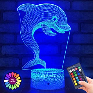 Menzee Dolphin 3D Night Light for Kids,3D Lamp Optical Illusion with Remote Control&Smart Touch 7 Colors 16 Colors Changing Dolphin Toys 10 9 3 5 2 8 1 7 6 4 Year Old Boy Girl Gifts