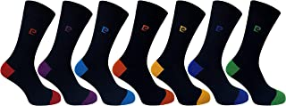 Pierre Cardin Casual Cotton Blend Heel & Toe Mens Socks Black with Assorted Bright Colours - UK Size 7-11 (7 Pairs)