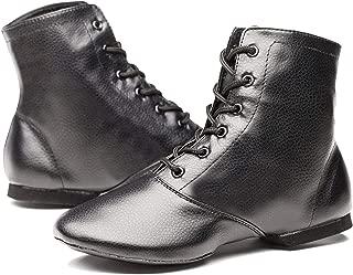 Joocare Men's Black Leather Split Sole Jazz Dance Boots Shoes