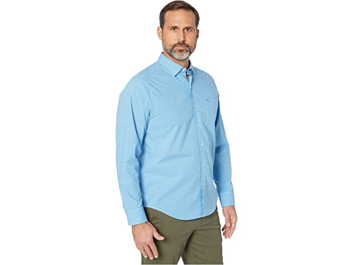 Tommy Bahama Newport Coast Gingham Grove Long Sleeve Picasso Blue Shirts & Tops