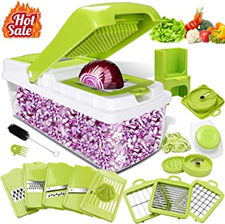 Kithouse Vegetable Chopper Mandoline Slicer Dicer - Onion Salad Food Chopper - 14 In 1 Veggie Spiralizer Vegetable Slicer For Fruits And Vegetables, 10 Blades, 8.56 Cups Big Capacity