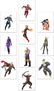 Watercolor Avengers End Game Poster Prints - Set of 10 (8x10) Glossy Marvel Wall Art - Captain Marvel - Black Widow - Captain America - Thanos - Nebula - Antman - Thor - Hulk - Hawkeye - Iron Man