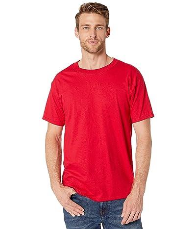 Hanes Beefy-T Crew Neck Short Sleeve T-Shirt (Deep Red) Men