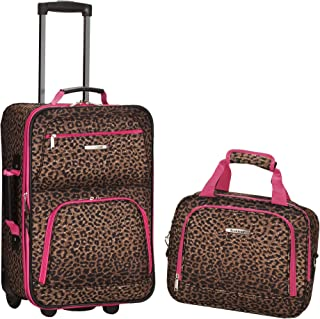 Rockland 2 Pc Luggage Set, Pink Leopard (Brown) - F102-PINKLEOPARD