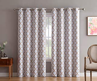 HLC.ME Lattice Print Thermal Insulated Blackout Room Darkening Grommet Top Window Curtain Panels for Kids Room - Platinum White/Gold - 52