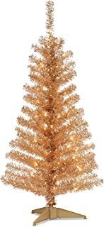 National Tree 4 Foot Champagne Tinsel Tree with Plastic Stand and 70 Clear Lights (TT33-302-40)