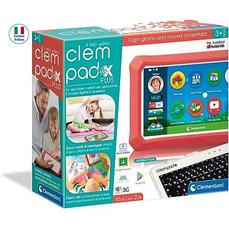 Clementoni-Il Mio Primo Clempad X Plus Tablet per Bambini con Tastiera, Multicolore, 16626