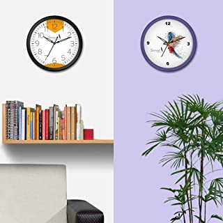 Story@home 10-inchRound Shape Set of 2 Wall Clock with Glass for Home/Kitchen/Living Room/Bedroom (Purple and Black Frame)